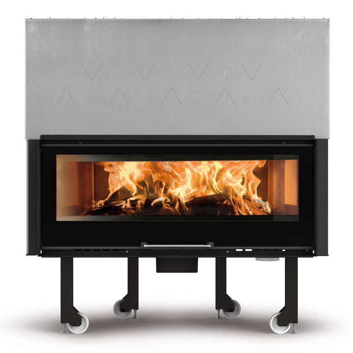 La Noridca Monoblocco Crystal 1300 Built-In Wood Fire - Frontal - Black Glass