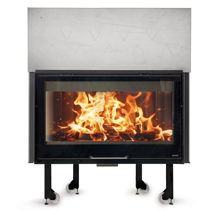 La Noridca Monoblocco Crystal 1300/800 Built-In Wood Fire - Frontal - Black Glass