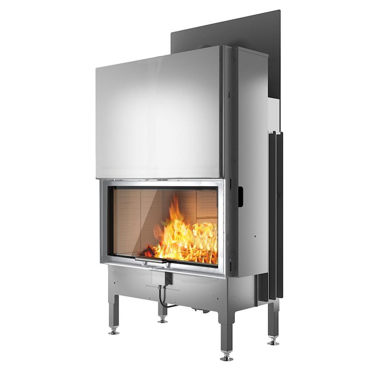 Rais Visio 1 Built-In Wood Fire - Frontal Stainless Steel No Frame - Stainless Steel