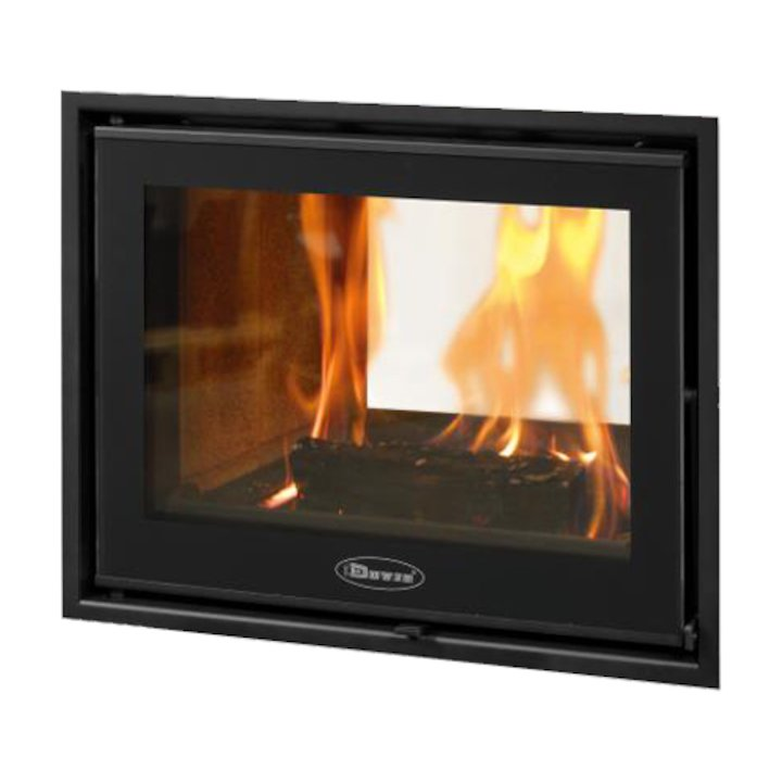 Dovre Zen 102 Built-In Wood Fire - Tunnel - Black Glass