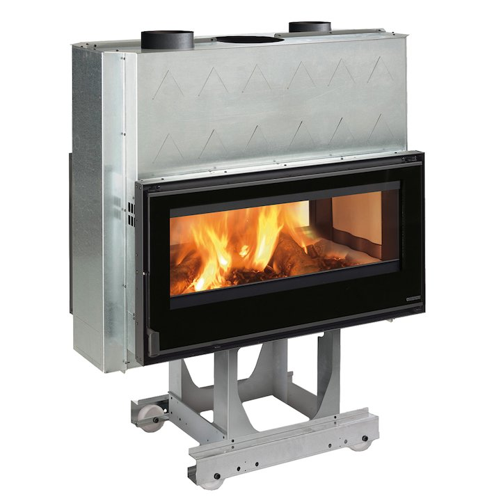 La Nordica Focolare Crystal 100 Bifacciale Built-In Wood Fire - Tunnel - Black Glass