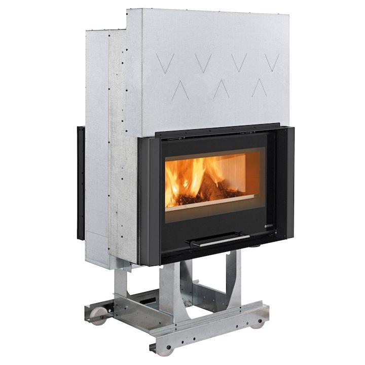 La Nordica Focolare Crystal 80 Bifacciale Built-In Wood Fire - Tunnel - Black Glass