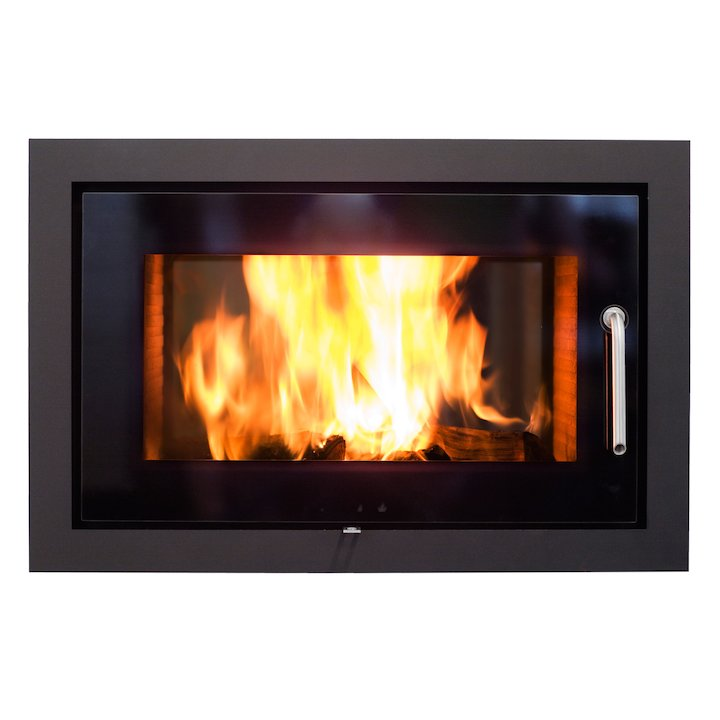 Rais 2:1 Built-In Wood Fire - Tunnel Black Black Glass Framed Door - Black