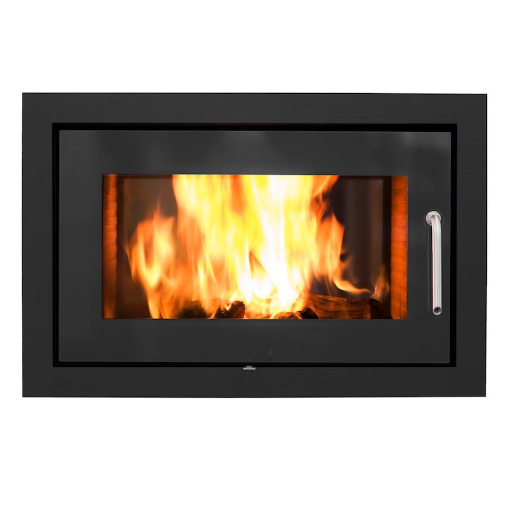Rais 2:1 Built-In Wood Fire - Tunnel Black Metal Framed Door - Black