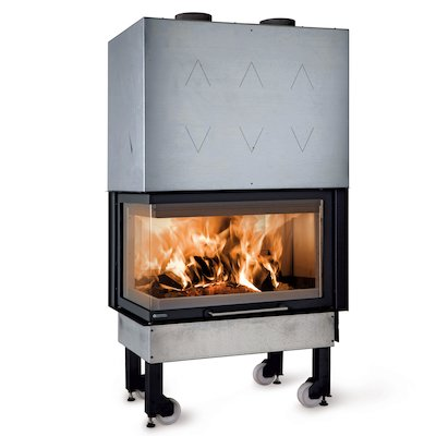 La Noridca Monoblocco Angolo 800 Built-In Wood Fire - Corner Black Left Side Glass