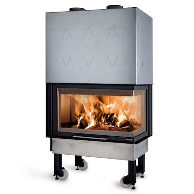 La Noridca Monoblocco Angolo 800 Built-In Wood Fire - Corner Black Right Side Glass