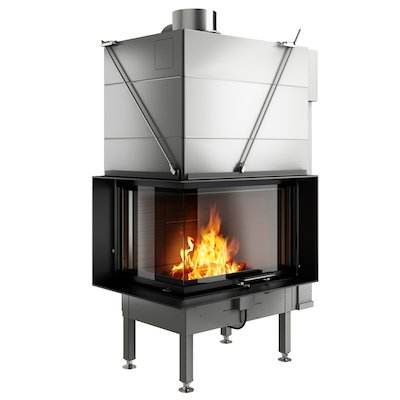 Rais Visio 2 Built-In Wood Fire - Corner Black Finishing Frame