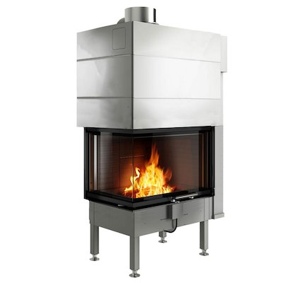 Rais Visio 2 Built-In Wood Fire - Corner Black No Frame