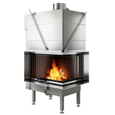 Rais Visio 2 Built-In Wood Fire - Corner Stainless Steel Finishing Frame