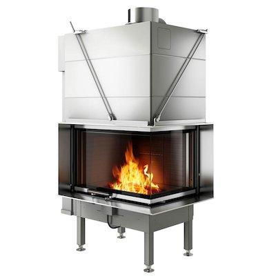 Rais Visio 2 Built-In Wood Fire - Corner Stainless Steel Finishing Frame
