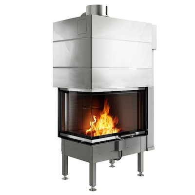 Rais Visio 2 Built-In Wood Fire - Corner Stainless Steel No Frame