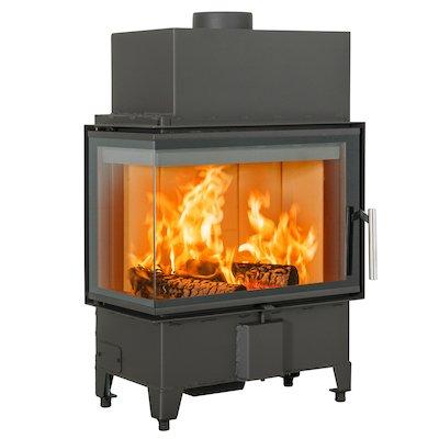 Scan 5003 Built-In Wood Fire - Corner Black Left Side Glass