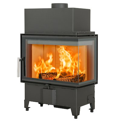 Scan 5003 Built-In Wood Fire - Corner Black Right Side Glass