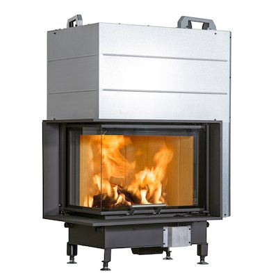 Scan 5004 Built-In Wood Fire - Corner Black Left Side Glass