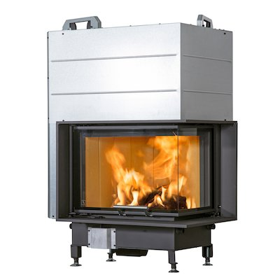 Scan 5004 Built-In Wood Fire - Corner Black Right Side Glass