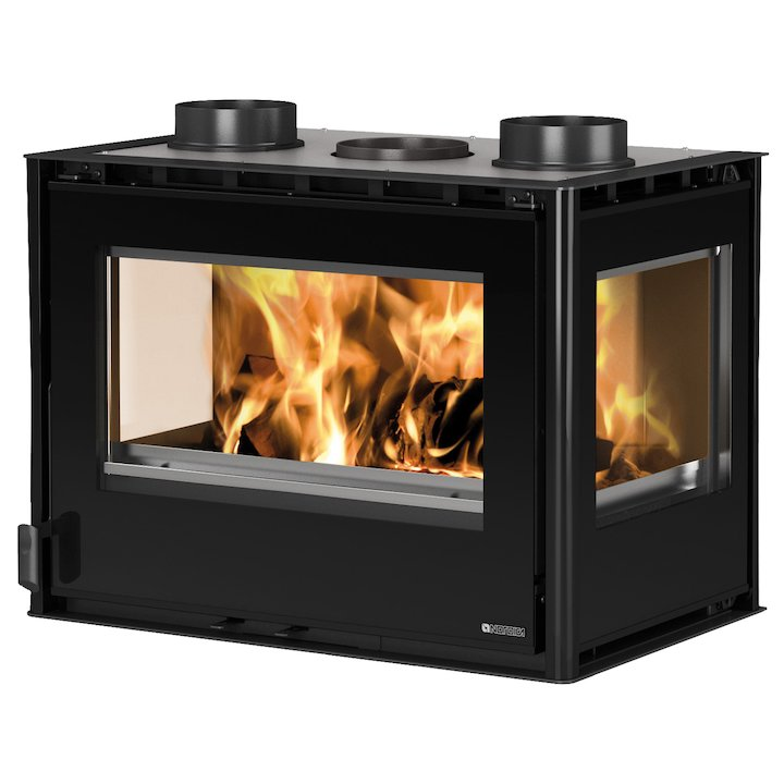 La Nordica Crystal 70 Wood Cassette Fire - Three Sided - Black Glass