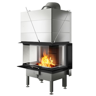 Rais Visio 3 Built-In Wood Fire - Three Sided Black Finishing Frame