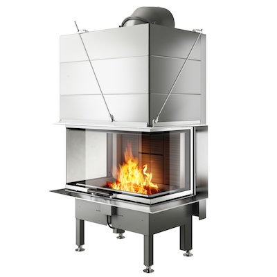Rais Visio 3 Built-In Wood Fire - Three Sided Stainless Steel Finishing Frame