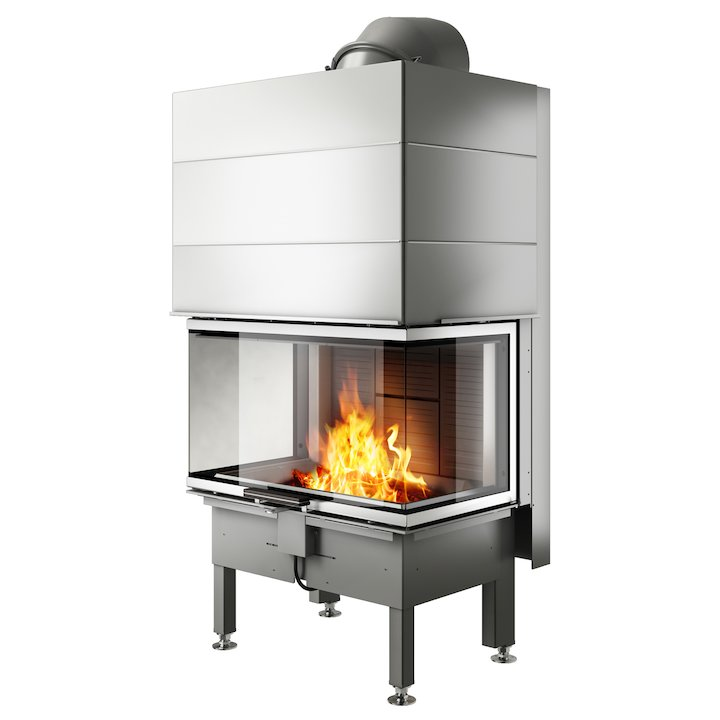 Rais Visio 3 Built-In Wood Fire - Three Sided Stainless Steel No Frame - Stainless Steel