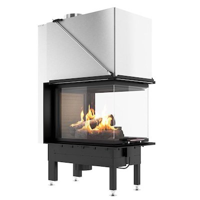 Rais Visio 3:1 Room Divider Wood Built-In Fire - Three Sided Black Finishing Frame