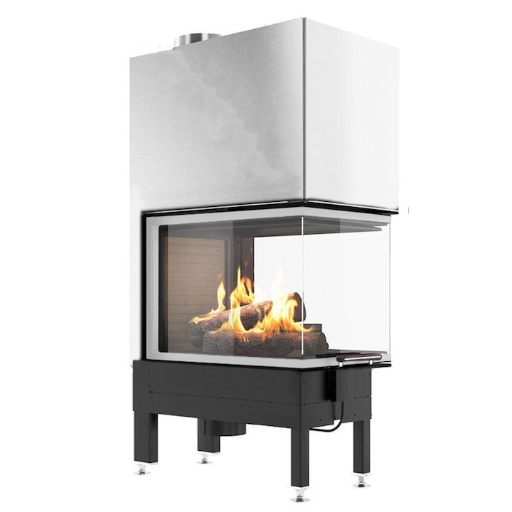 Rais Visio 3:1 Room Divider Wood Built-In Fire - Three Sided Stainless Steel No Frame - Stainless Steel