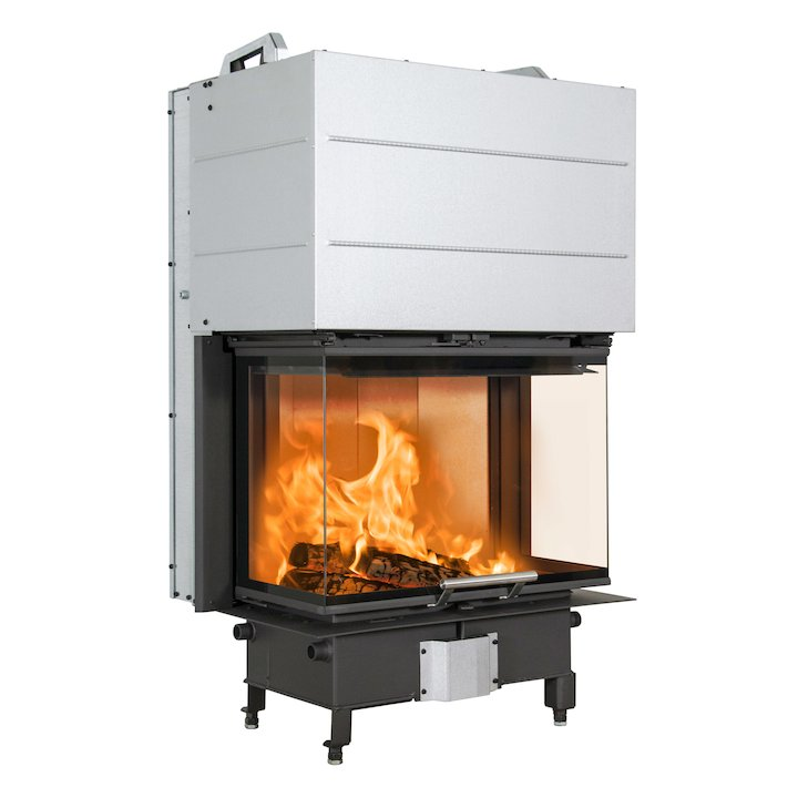 Scan 5004 Built-In Wood Fire - Three Sided Black No Frame - Black