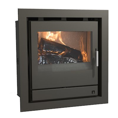 Arada Ecoboiler 12 HE Multifuel Cassette Boiler Fire - Frontal Midnight Black Four Sided Frame