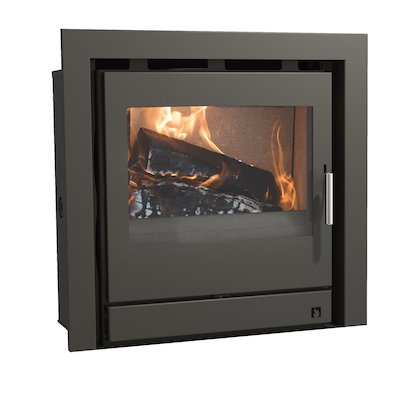Arada Ecoboiler 12 HE Multifuel Cassette Boiler Fire - Frontal Midnight Black Three Sided Frame