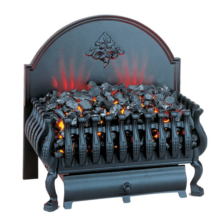 Burley Cottesmore Electric Firebasket Black With Plain Fireback - Black