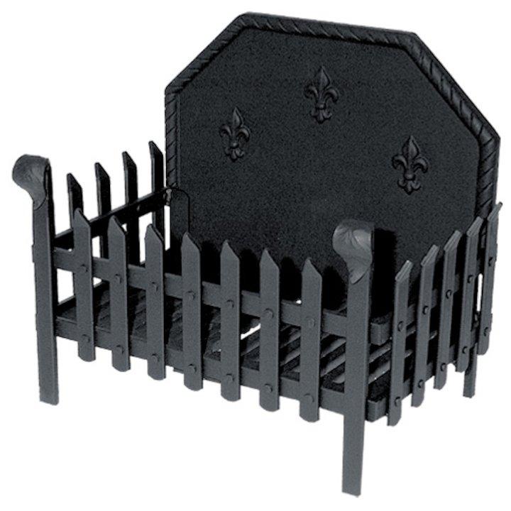 Calfire Portcullis Standard Solid Fuel Firebasket Black With Fleur-de-lys Fireback - Black
