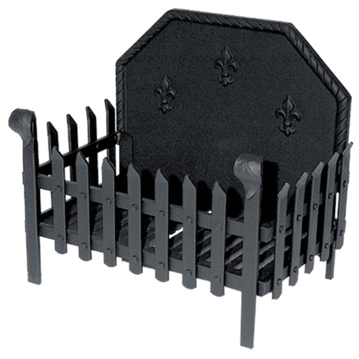 Calfire Portcullis Medium Solid Fuel Firebasket Black With Fleur-de-lys Fireback - Black