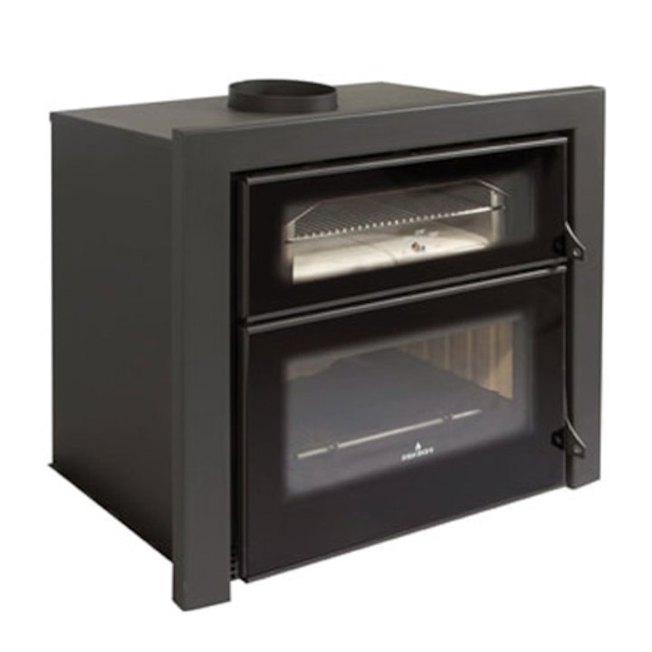 Bronpi Everest Wood Cassette Fire - With Oven - Black Glass