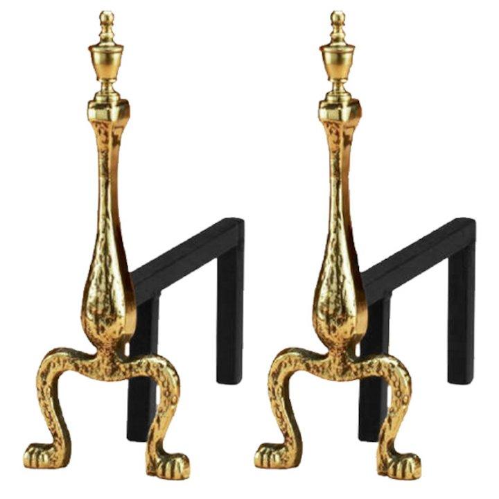 Calfire Canterbury Swansnest Firedogs - Brass