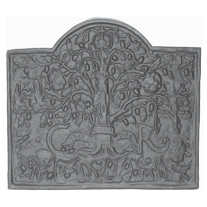 Calfire Royal Oak Large Cast-Iron Fire Back Plate - Black