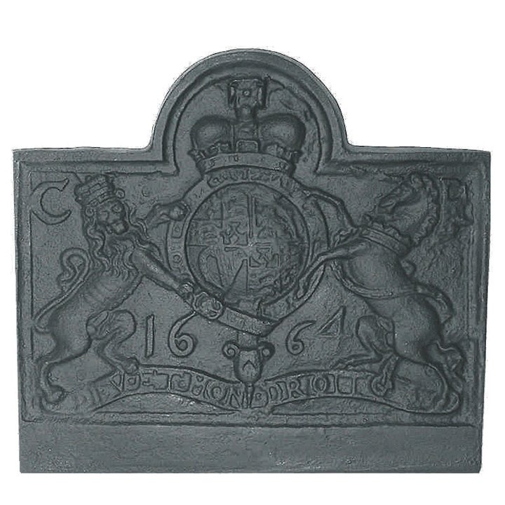 Calfire Lion & Unicorn Small Cast-Iron Fire Back Plate - Black