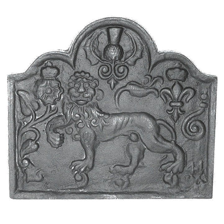 Calfire Laughing Lion Cast-Iron Fire Back Plate - Black