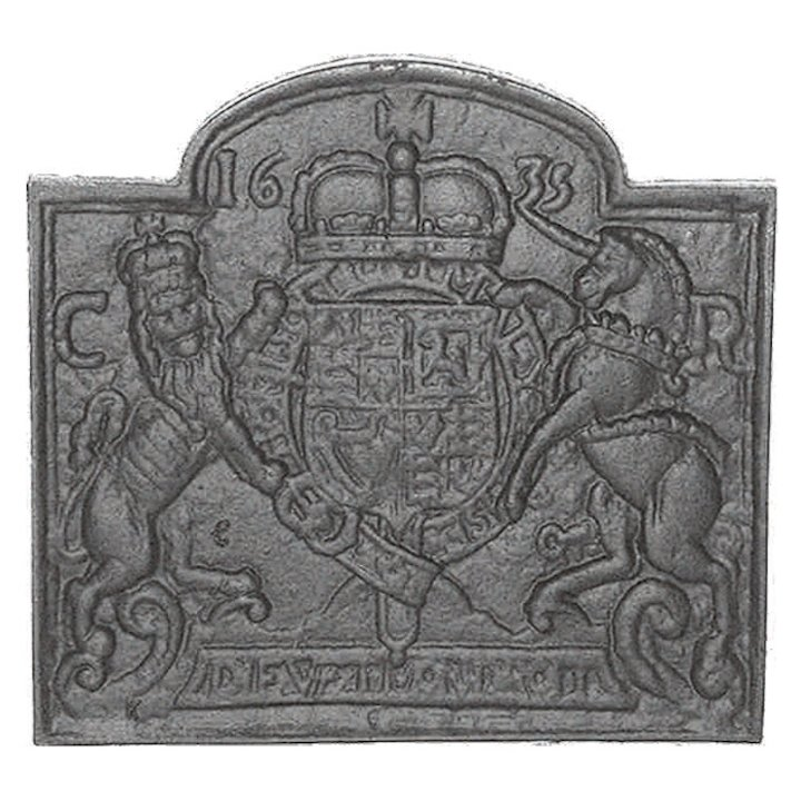 Calfire Coat of Arms 1635 Cast-Iron Fire Back Plate - Black