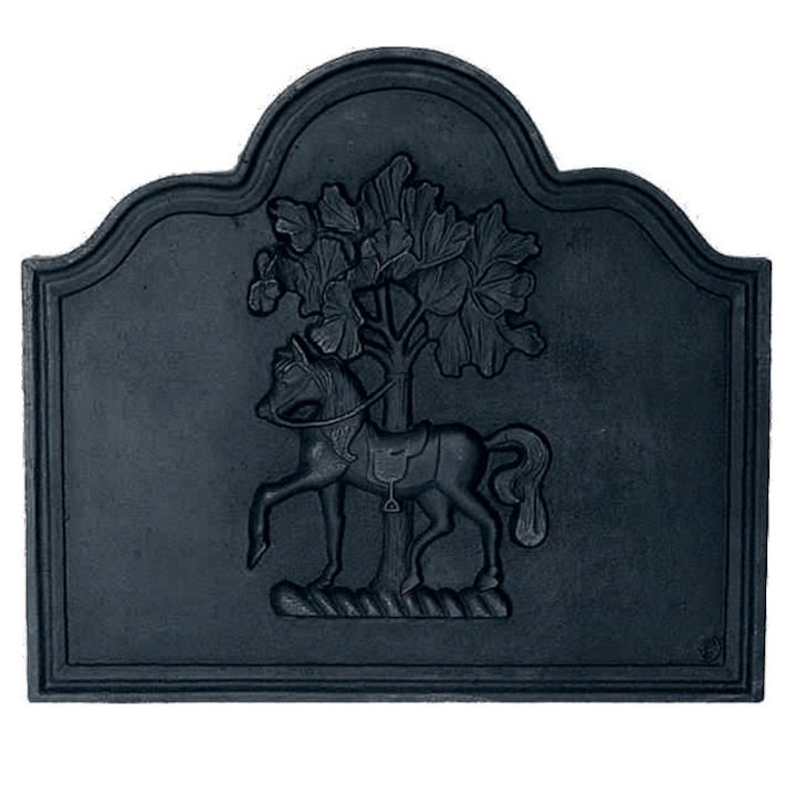 Calfire Horse Chestnut Cast-Iron Fire Back Plate - Black