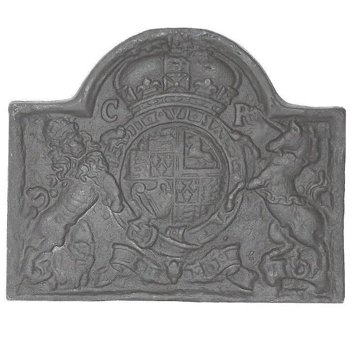 Calfire Lion & Unicorn Large Cast-Iron Fire Back Plate - Black