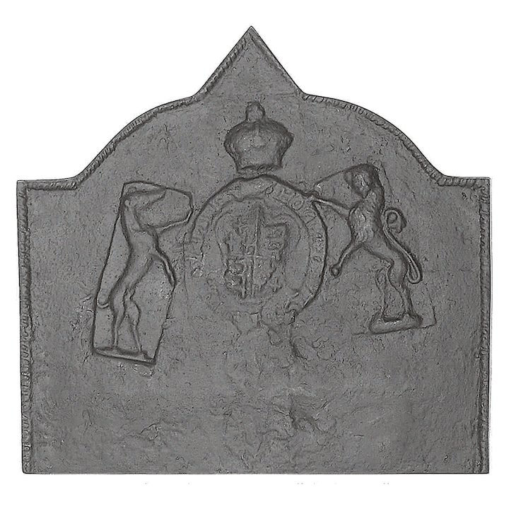 Calfire Medieval Large Cast-Iron Fire Back Plate - Black