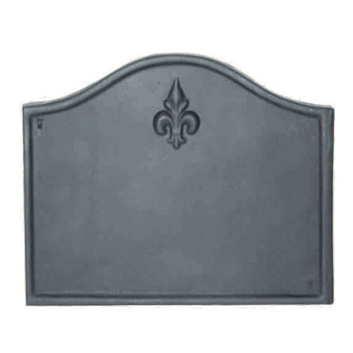 Calfire Fleur-de-lys Cast-Iron Fire Back Plate - Black