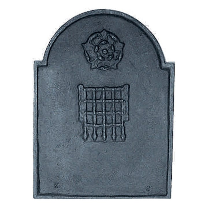 Calfire Rose & Portcullis Cast-Iron Fire Back Plate - Black