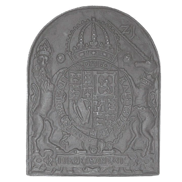 Calfire Royal Coat or Arms Cast-Iron Fire Back Plate - Black