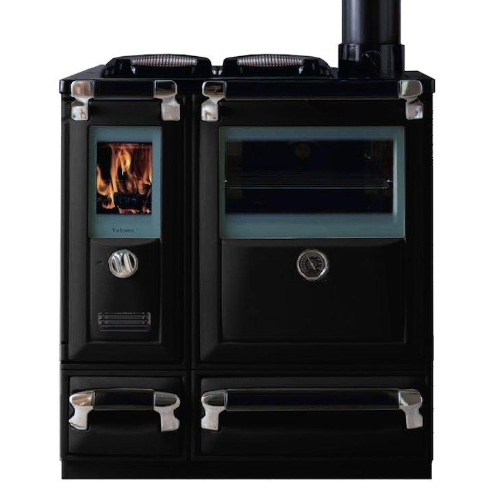 Lacunza Vulcano 5T Wood Burning Range Cooker Enamel Black Cast Cooking Top - Enamel Black