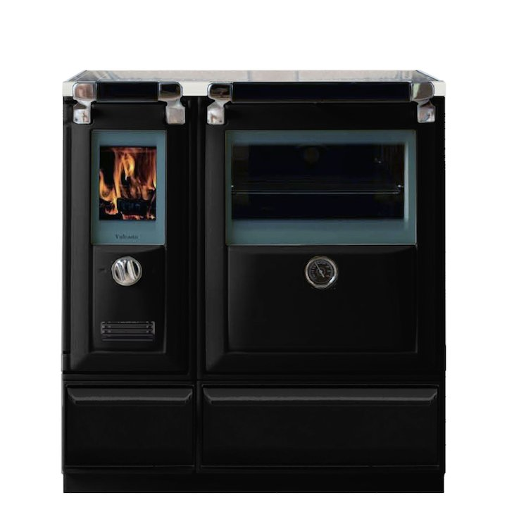 Lacunza Vulcano 5T Wood Burning Range Cooker Enamel Black Glass Cooking Top - Enamel Black