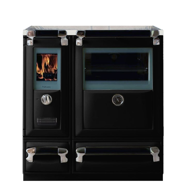 Lacunza Vulcano 5T Wood Burning Range Cooker Enamel Black Glass Cooking Top - Enamel Black
