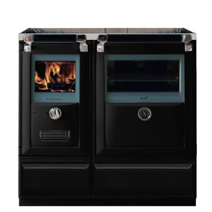 Lacunza Vulcano 7T Wood Burning Range Cooker Enamel Black Glass Cooking Top - Enamel Black