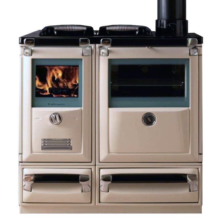 Lacunza Vulcano 7T Wood Burning Range Cooker Enamel Ivory Cast Cooking Top - Enamel Ivory