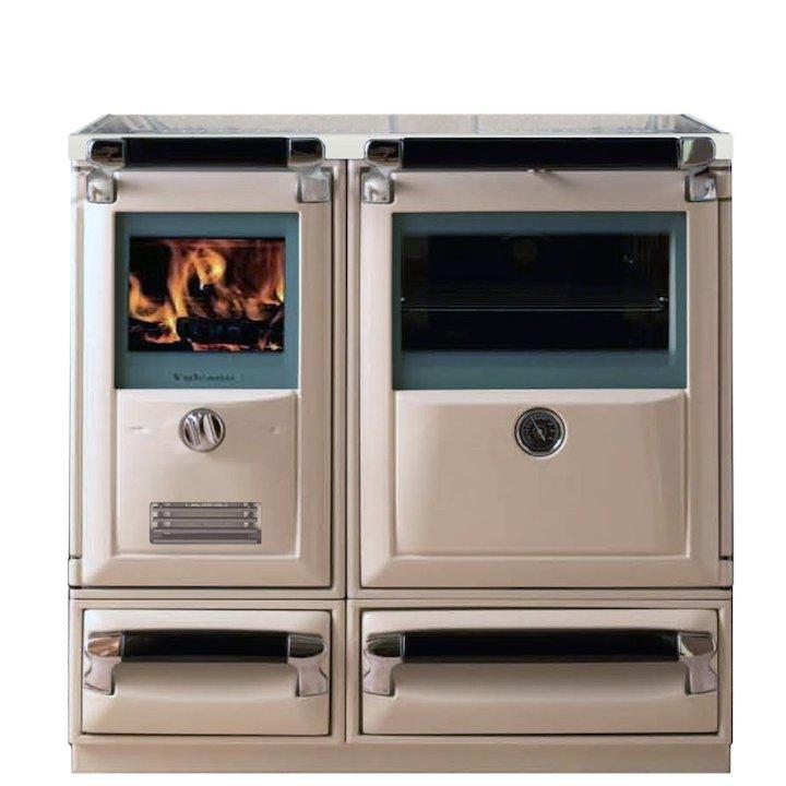 Lacunza Vulcano 7T Wood Burning Range Cooker Enamel Ivory Glass Cooking Top - Enamel Ivory