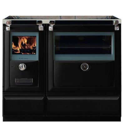 Lacunza Vulcano 8T Wood Burning Range Cooker Enamel Black Plinth Base